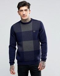 Fred Perry Jumpers With Check In Navy Navy