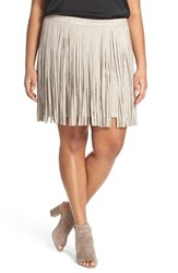 Plus Size Women's Bb Dakota 'Ardis' Faux Suede Fringe Skirt