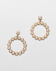 Stradivarius Pearl Embellished Earrings Gold
