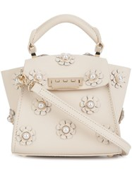 Zac Posen Mini 'Earthy Iconic Top Handle' Floral Crossbody Bag White