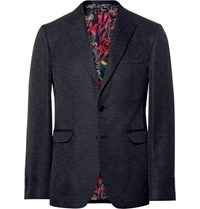 Etro Black Slim Fit Slub Silk Tuxedo Jacket Black