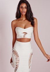 Missguided Bandage Detail Bandeau Crop Top White Ivory