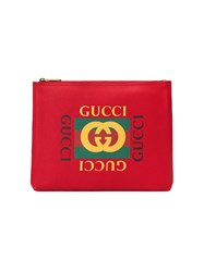 Gucci Print Leather Medium Portfolio Calf Leather Red