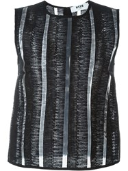 Msgm Woven Panelled Top Black