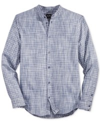 Armani Exchange Men's Plaid Banded Collar Shirt Multi