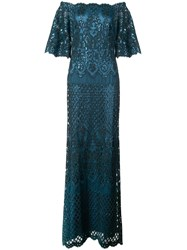Tadashi Shoji Aimee Off Shoulder Sequin Embroidered Gown Green