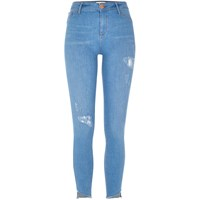 River Island Womens Bright Blue Molly Asymmetric Hem Jeans