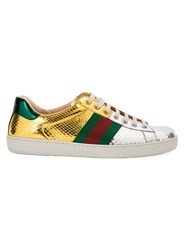 Gucci Metallic Grey Vintage Web Sneakers