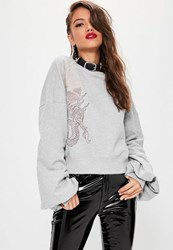 Missguided Grey Dragon Embroidered Sweatshirt