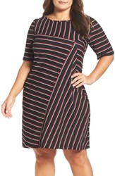 Gabby Skye Plus Size Women's Stripe Shift Dress