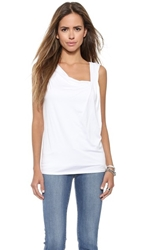 Three Dots Gathered Sleeveless Top White