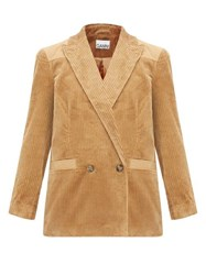 Ganni Double Breasted Cotton Corduroy Blazer Camel