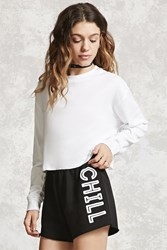 Forever 21 Chill Graphic Shorts Black Cream