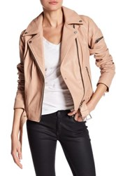 7 For All Mankind Leather Asymmetricla Moto Jacket Pink