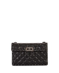 Valentino Rockstud Quilted Leather Crossbody Bag Black