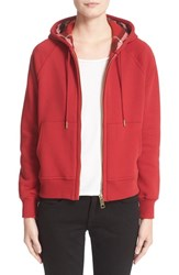 Burberry Women's Check Print Hoodie Parade Red