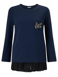 Marella Acceso Brooch Detail Top Navy