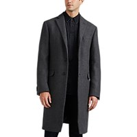 Barneys New York Wool Blend Slim Overcoat Gray