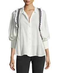 Ba And Sh Jermaine Embroidered Trim Shirt White Black Multicolor White Black