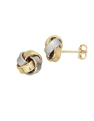 Lord And Taylor 14Kt Yellow And White Gold Love Knot Earrings