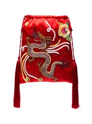 Attico Sequin Embellished Dragon Bracelet Bag Red