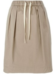 Odeeh Pleated Straight Skirt Nude And Neutrals