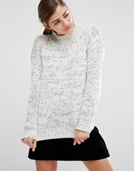 Fashion Union Oversized High Neck Knitted Jumper In Space Dye Multi Grey
