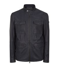 Boss Orange Leather Jacket Male Navy