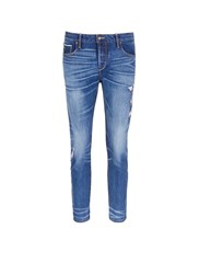 Tortoise Oriental Embroidery Distressed Cropped Straight Jeans Blue
