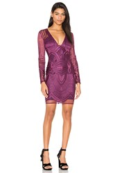 Lavish Alice Embroidered Mesh Plunge Dress Purple