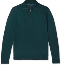 Paul Smith Ps Slim Fit Piped Merino Wool Half Zip Sweater Teal