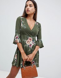 Ax Paris Printed Skater Dress With Flute Sleeve Green