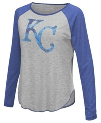 G3 Sports Women's Kansas City Royals Line Drive Long Sleeve T Shirt Gray Royalblue