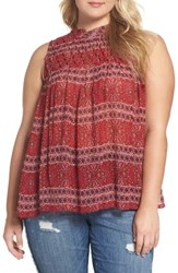 Lucky Brand Plus Size Women's Pintuck Yoke Chiffon Tank Red Multi