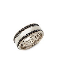 Effy Men's Black Sapphire And Sterling Silver Band Ring