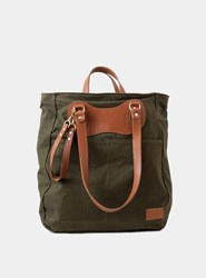 J.Panther Luggage 1950S Czech Army Tent Canvas Tan Leather Trim Rucksack Tote Bag Green