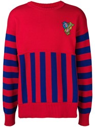 Versace Crew Neck Panelled Sweater Red