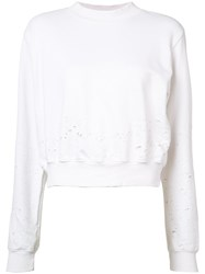 Cotton Citizen Distressed Cropped Sweater Women Xs White