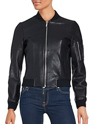 Bagatelle Sleeve Pocketed Leather Jacket Black