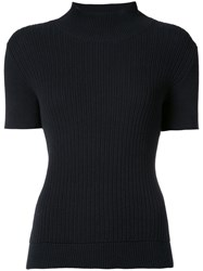 A.P.C. Ribbed Turtleneck Sweater Women Cotton Linen Flax Xs Blue