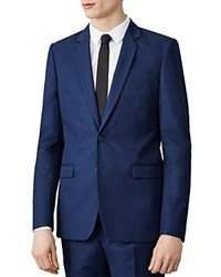 Sandro Notch Cotton Slim Fit Suit Jacket Petrol