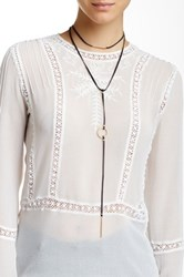 Sparkling Sage Layered Faux Leather Choker Y Drop Necklace Black