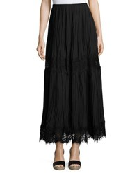 Max Studio Lace Inset Pleated Georgette Maxi Skirt Black