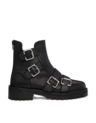 Park Lane Leather Multi Buckle Flat Ankle Boots Black