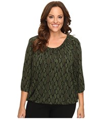 Michael Michael Kors Plus Size Diamond Snake Peasant Top Moss Women's Clothing Green