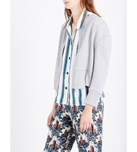 Burberry Oversized Cropped Knitted Cardigan Pale Grey Melange