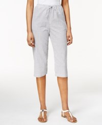 Karen Scott Petite Drawstring Seersucker Capri Pants Only At Macy's Intrepid Blue