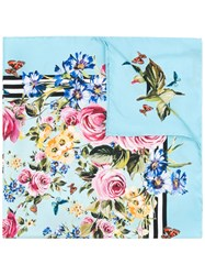 Dolce And Gabbana Floral Square Scarf Women Silk One Size Blue