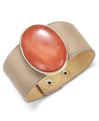 Inc International Concepts Gold Tone Large Stone Wide Faux Leather Bracelet Only At Macy's Coral