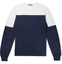 Canali Slim Fit Two Tone Cotton Sweater Navy